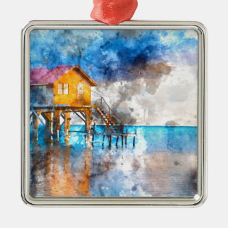 Home on the Ocean in Ambergris Caye Belize_ Metal Ornament