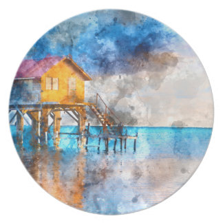 Home on the Ocean in Ambergris Caye Belize Party Plates