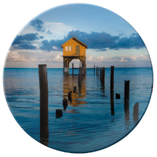 Home on the Ocean in Ambergris Caye Belize Porcelain Plate