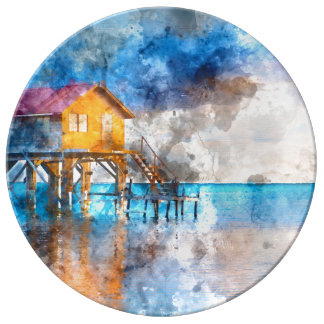 Home on the Ocean in Ambergris Caye Belize_ Porcelain Plates