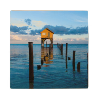 Home on the Ocean in Ambergris Caye Belize Wood Coaster