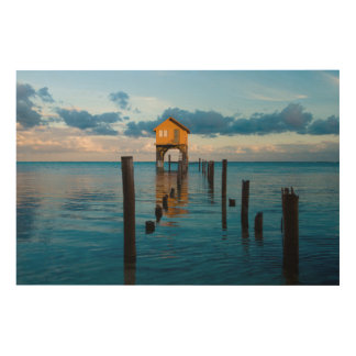 Home on the Ocean in Ambergris Caye Belize Wood Wall Art