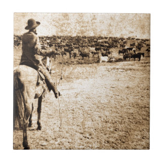 Home on the Range Vintage Cowboy Old West Ceramic Tile