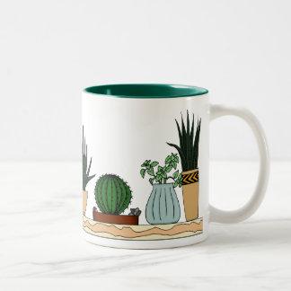 Home Potted Plants Doodle Art Two-Tone Coffee Mug