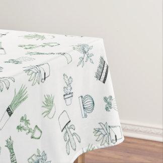 Home Potted Succulent Cactus Plants Doodle Art Tablecloth