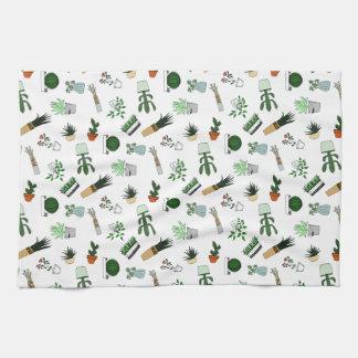 Home Potted Succulent Cactus Plants Doodle Art Tea Towel