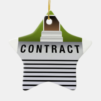 Home Property Real Estate Contract Icon Ceramic Star Decoration
