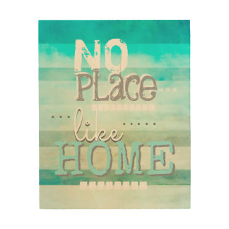 home quote wood panel wall art teal blue