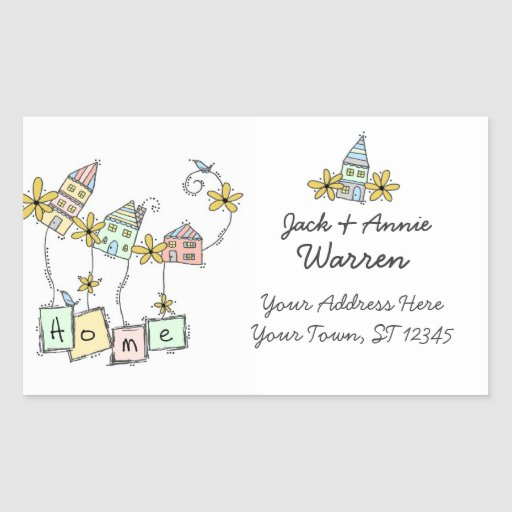 HOME Return Address Labels Rectangle Sticker