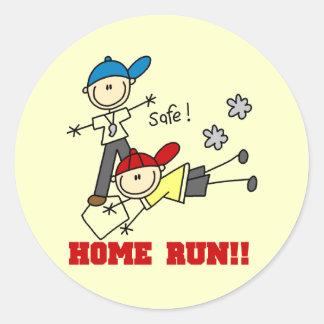 Home Run Boys Baseball Tshirts and Gifts Round Sticker
