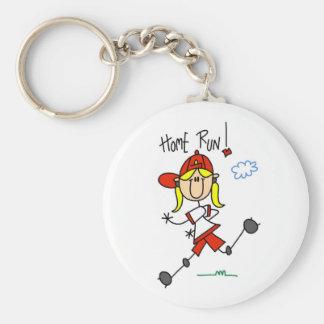 Home Run Girls Softball T-shirts and Gifts Basic Round Button Key Ring
