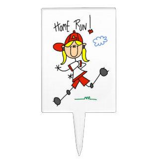 Home Run Girls Softball T-shirts and Gifts Rectangular Cake Picks
