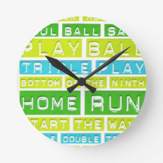 Home Run, Play Ball, Green, Blue and White Round Wall Clock