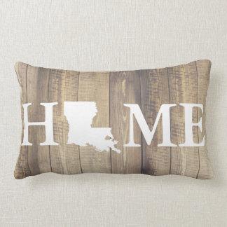 Home State Louisiana Rustic Wood Family Name Lumbar Cushion