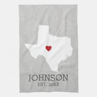 Home State Map Art - Custom Name Texas Tea Towel