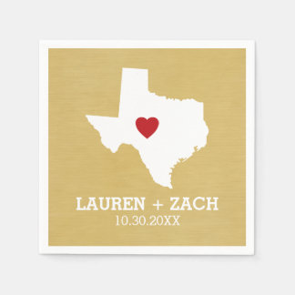 Home State Map Art - Custom Wedding Texas Paper Serviettes