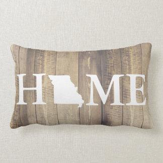 Home State Missouri Rustic Wood Family Name Lumbar Cushion
