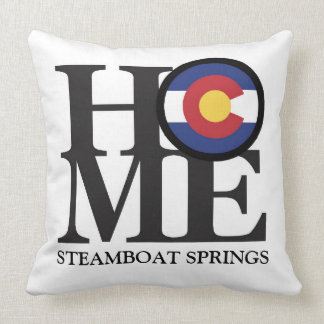 HOME Steamboat Springs Colorado Throw Pillow White