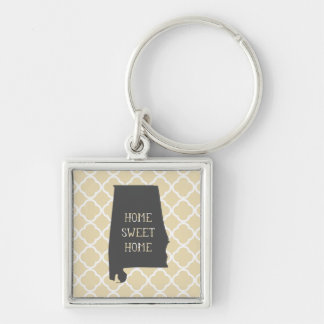 Home Sweet Home Alabama Silver-Colored Square Key Ring