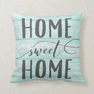 Home Sweet Home Aqua Chippy Wood Accent Pillow
