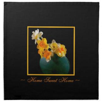 Home Sweet Home Black Cork Coasters, Daffodils Printed Napkins