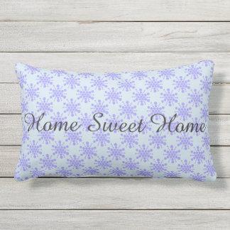 Home Sweet Home. Blue dotted stars Lumbar Cushion