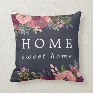 Home Sweet Home - Blush & Burgundy Flowers Cushion