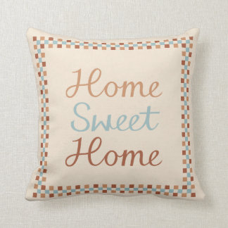 Home Sweet Home & Checks Blue Crm Terracottas Cushion