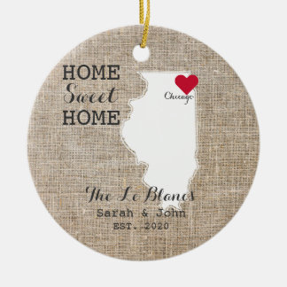 Home Sweet Home | Chicago Illinois Rustic Ceramic Ornament