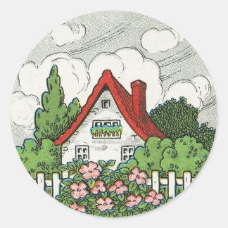 Home Sweet Home Cottage Round Sticker