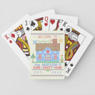 Home Sweet Home Cross Stitch House Family Name Playing Cards