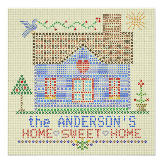 Home Sweet Home Cross Stitch House Personalized