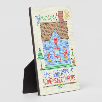 Home Sweet Home Cross Stitch House Personalized Plaque