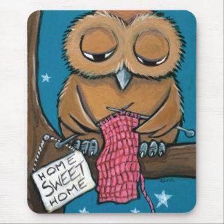 Home Sweet Home - Cute Knitting Owl Mousepad