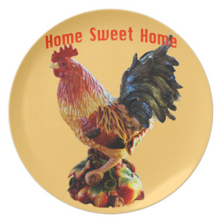 Home Sweet Home Farm Rooster Gold Plate
