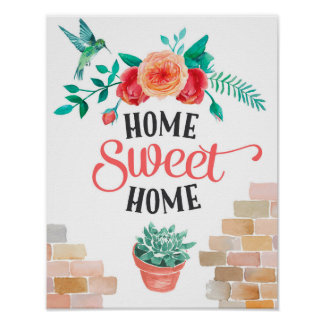 Home Sweet Home Floral Poster