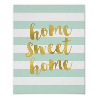 Home Sweet Home Gold and Mint | Art Print