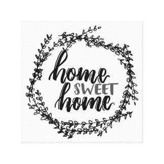 Home Sweet Home Hand Lettered Farmhouse Canvas