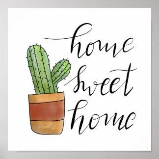 Home Sweet Home Handwritten Succulent Illustration Poster