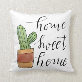 Home Sweet Home Handwritten Succulent Illustration Throw Pillow