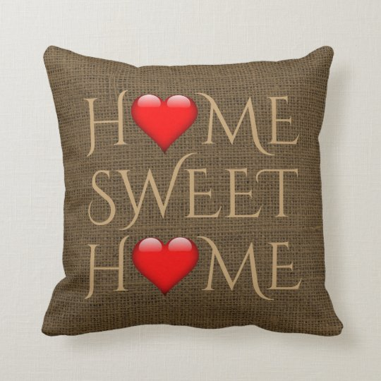 Home Sweet Home Hearts Rustic Burlap Brown Cushion