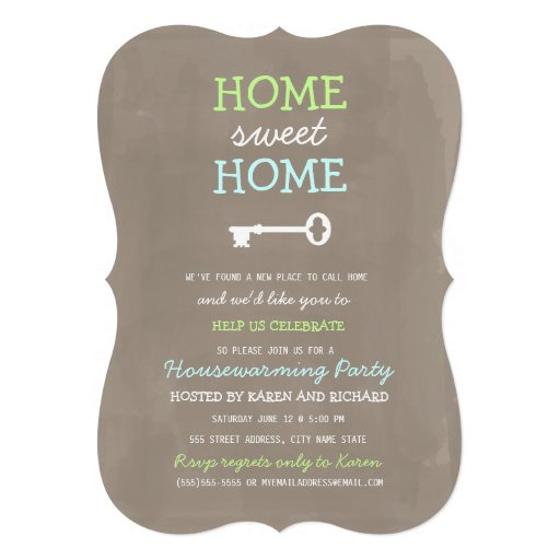 Home Sweet Home Housewarming Invite (More Colors) Personalized Announcements