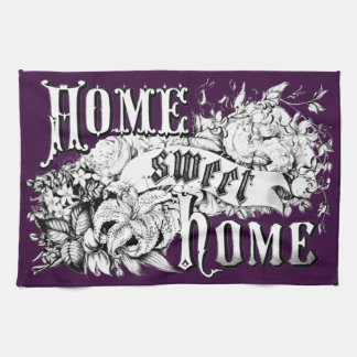 home sweet home kitchen towel purple