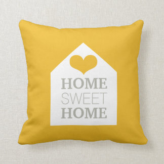 HOME SWEET HOME Mustard Yellow & Grey Pillow