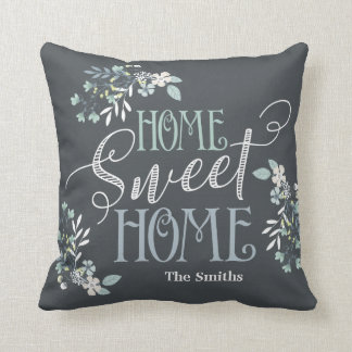 """Home Sweet Home"" personalized floral pillow"
