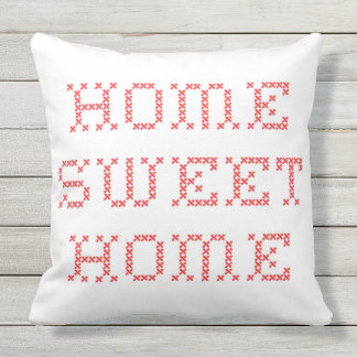 Home Sweet Home Red Cross Stitch Cushion
