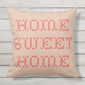 Home Sweet Home Red Cross Stitch Outdoor Cushion