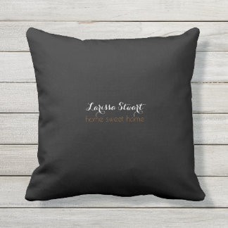 home sweet home simple & personalized black outdoor cushion