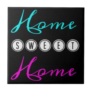 Home Sweet Home Square Ceramic Tile - black