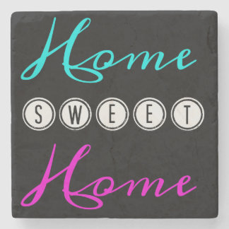 Home Sweet Home Square Marble Coaster - dark